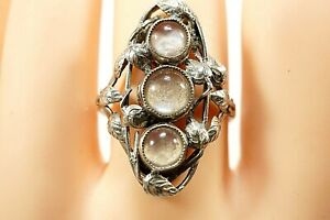 ARGENTIUM SILVER - Mother Of Pearl Dress Ring 935 Size 'S' 3.3 Grams