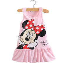 Kids Girls Cartoon Minnie Mouse Party Dress Sleeveless Vest Skirt Clothes Tops
