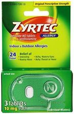 Zyrtec 24 Hour 10mg each 3 count Allergy Tablets Indoor & Outdoor