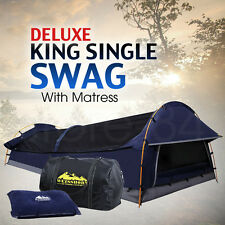 Deluxe King Single SWAG Dome Camping Canvas Tent w/ Mattress & Air Pillow - NAVY