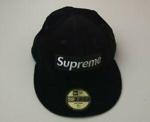 Very rare FW15 Supreme New Era 59Fifty Box Logo corduroy black hat size 7 1/2