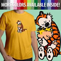 Calvin and Hobbes Hugging Best Friends Comics Tiger Unisex Mens Tee Crew T-Shirt