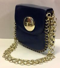 Vintage Delill Octavia Blue Metal Gold Chain Link Purse Shoulder Bag
