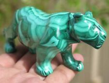 6.1OZ Natural Green Malachite Crystal Carving Art Leopard