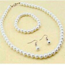 Weiß Perlenkette Ohrringe Armband Set Hochzeit Braut Schmuckset Brautschmuck