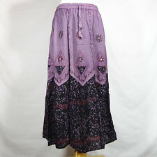 Traditional Indian Rayon Skirt with Batik dot pattern Black and Purple