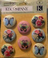 K & Company Serendipity Fabric Butterfly Scrapbook Brads