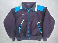 Men's Vintage 90s Columbia Windbreaker Fleece Jacket Black Neon Large Full Zip