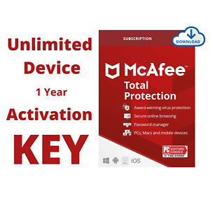 McAfee Total Protection 2021 Unlimited Device 1 Year Activation Code US