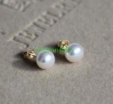 Top  AAAA akoya 7-8mm natural white pearl earrings 14k Gold