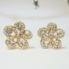 Rose Gold plated Flower Crystal Ear Studs Earrings Ear Hoop Buckle