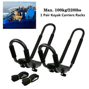 2X Iron Universal Roof J-Bar Rack Kayak Boat Canoe Car SUV Top Mount Bracket Set