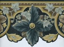 ARCHITECTURAL BLACK , TAN , AND GRAY LEAF SCULPTURED WALLPAPER BORDER