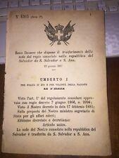 REGIO DECRETO DISP TRASFERIMENTO SEDE REGIO CONSOLATO REPUBBL SALVADOR a S. ANA