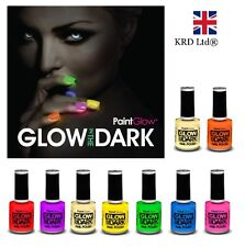 6 x ORIGINALE paintglow brillano al buio Unghie Vernice Set NEON luminosi Halloween UK