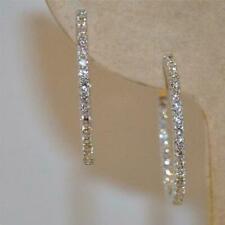 14k White Gold Diamond Inside-Outside Hoop Earrings 3.00 Ct Excellent Round Cut