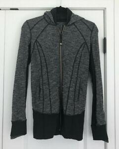 EUC Black + White LULULEMON Hooded Jacket Size 4