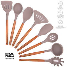 Silicone Kitchen Utensil Set, Acacia Wood Handles, Heat Resistant, FDA Approved