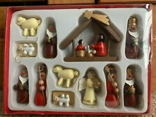 Set Of 12 Wooden Nativity Scene Baubles Christmas Tree Decorations - Boxed