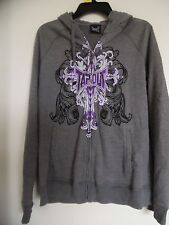 Tapout Youth gray purple white zip up hoodie jacket Size XL