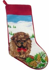 Festive Red Chow Chow Dog Wool Needlepoint Christmas Stocking