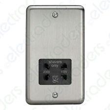 VARILIGHT Dual Voltage Shaver Plug Socket 240v/115v Matt Chrome XSSSB