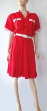Vintage 70s ooak Handmade Red Cotton Full Skirt Dress  S M