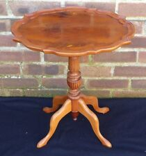 Beautiful Vintage Oval Wooden Column Wine Coffee Side Table Plant Stand