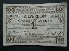 Netherlands 1917 1 Gulden Zilverbon (silverbond) banknote, P.10