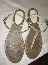 Bottega Venetta Sandal Cream And Gray lizard Flat Size 40