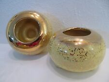 2 Vintage 1950's Candle Holders Yellow Ceramic Candleholders Sparkling Gold Gilt