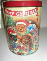 Dogs and Puppies Christmas Cookie Tin Container Tall Can Storage Box Holiday Orn