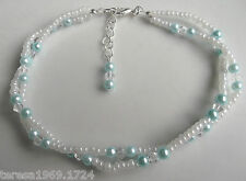 Pearl crystal beaded stretch anklet ankle bracelet bridal something blue 10-11in