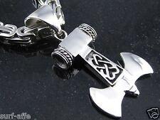 Neu Edelstahl  Anhänger Thorhammer  Thors Hammer Doppelaxt für Königsketten