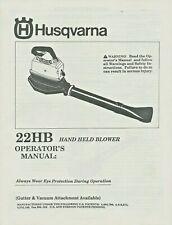 Husqvarna 22HB Hand Held Blower Operator's Manual