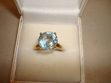 9ct Gold Blue Topaz Large Solitaire Statement Ring QVC Hallmarked Band