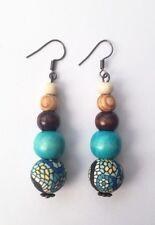 Ispirazione etnica: da Donna Tribale Color Foglia Di Tè Blu Marrone Legno Argilla Dangle Orecchini Pendenti