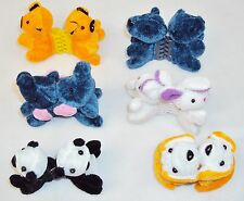 Kids' Hair Clips w/Plastic Clips ~ 6 Assorted Miniature Plush Animals CUTE! NEW