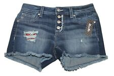 Miss Me Fly Butterfly Mid Shorts Sz 28 Distressed Denim Ms5151h471