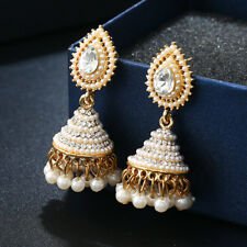 Retro Indian Pearl Earring Gold Jhumka Drop Ear Stud Dangle Wedding Jewelry Gift