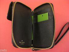 kate spade BLACK CELLPHONE HOLDER leather wristlet wallet small new NWT designer