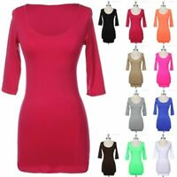 Sexy Seamless Solid Scoop Neck 3/4 Sleeve Tunic Bodycon Mini Dress ONE SIZE