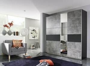 Rauch 'Korbac' Sliding Door Wardrobe, Concrete & Anth. German Bedroom Furniture.