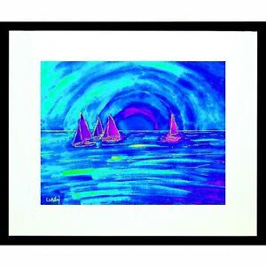 Sunset Sailing Sail Boat Island Matted Signed Print Tropical Key West Sun Art