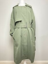 ASOS military green rain mack trench coat size 24 full length belted storm flap