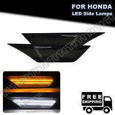 FOR 2016- 2020 Honda Civic Smoked Lens LED Side Marker Light W/ LED Running Lamp