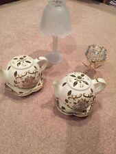 Partylite Clairmont Lamp Tea Time Pot Solitaire Brass Tealight Lot Retired Euc