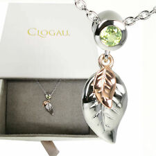 "Clogau Pendant Awelon Peridot Leaf Rose Gold Sterling Silver 22"" Chain"