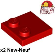 Lego - 2x Tile Modified plaque plate lisse 2x2 2 tenon rouge/red 33909 NEUF