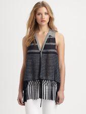 Rebecca Minkoff Maui Fringed Top Size Small M Navy Stripe $228